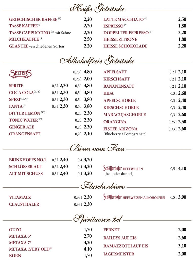 Die SPEISEKARTE mit fantastischen griechischen Spezialitäten aus dem Restaurant Hellas Artemis in Lüdinghausen